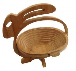 faltkorb bambus obstkorb hase dekoschale obstschale holz. Black Bedroom Furniture Sets. Home Design Ideas