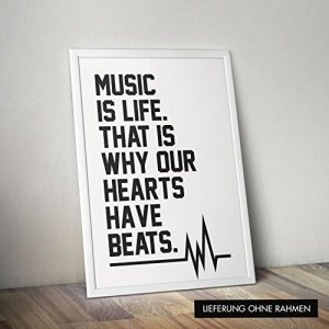 Poster mit Spruch Music is life