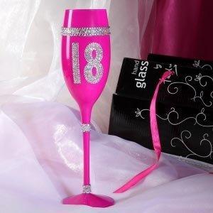 pinkes champagner glas mit strass zum 18 geburtstag als. Black Bedroom Furniture Sets. Home Design Ideas