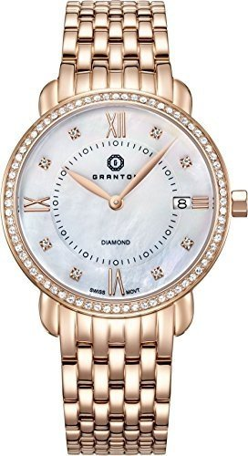 Granton Damen-Armbanduhr COLLECTION MARQUISE Analog Quarz Farbe weiß Rosa gold, 36mm damenuhr
