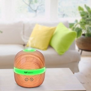 Aroma Diffuser Holz, marsboy 300ml LED Aroma Diffuser, Holzmaserung Luftbefeuchter mit 7 Farbwechsle