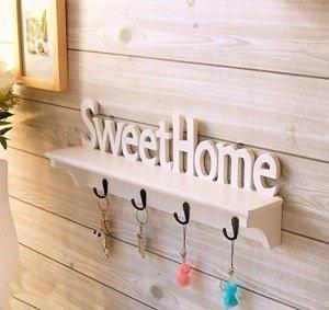 sweet home holz wandhalterung haken kleiderb gel rack schl ssel haken wei. Black Bedroom Furniture Sets. Home Design Ideas