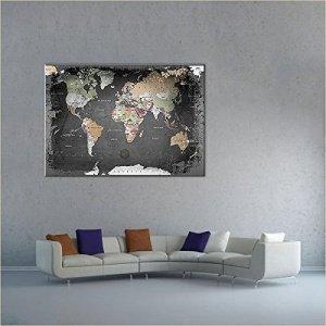 lanakk weltkarte graphit mit kork r ckwand edel leinwand bild kunstdruck auf keilrahmen. Black Bedroom Furniture Sets. Home Design Ideas